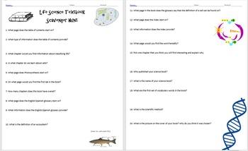 Biology Textbook Scavenger Hunt