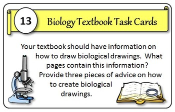 Biology Textbook Task Cards - Great Course Opener! {With Editable Template}