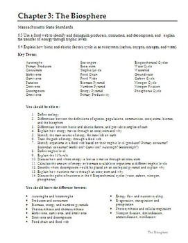 Biology - Chapter 3: The Biosphere Chapter Study Guide (wi