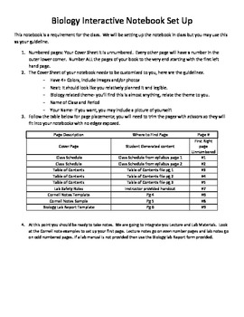 Biology Undergraduate Interactive Notebook Setup Guide for