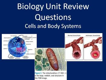Biology Unit Review Questions - Cells and Body Systems