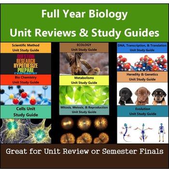 Biology Unit Review & Study Guides