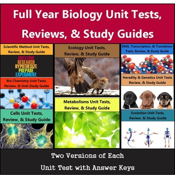 Biology Unit Tests - Full Year Bundle