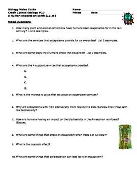 Biology Video Guide Crash Course Ecology #10 5 Human Impac