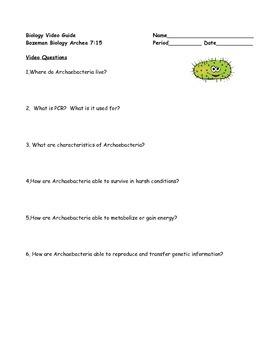 Biology Video Guide & Key Bozeman Biology Archaebacteria