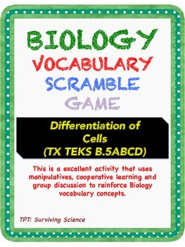 Biology Vocabulary Scramble Game: Differentiation of Cells (B.5ABCD)