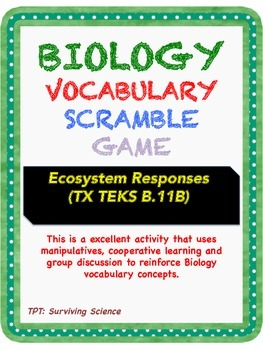 Biology Vocabulary Scramble Game: Ecosystem Responses (B.11B)