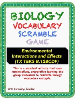 Biology Vocabulary Scramble Game: Environmental Interactio