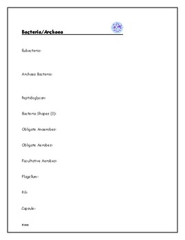Biology Vocabulary Sheets (To go with the Presentations)