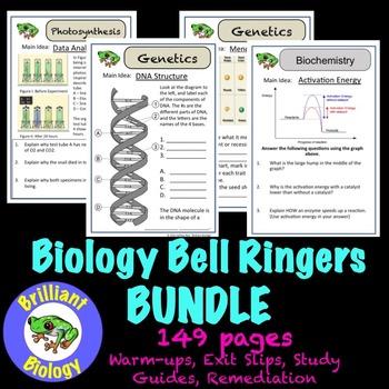 Biology Warm-ups: Ecology, Biochemistry, Cells, Energetics