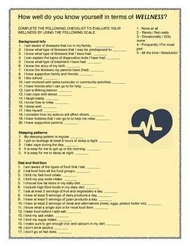 Biology Wellness Questionnaire activity