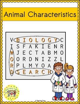 Animal Characteristics Word Search