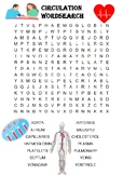 Biology Word Search: Circulatory system (Includes blood,vessels and heart)