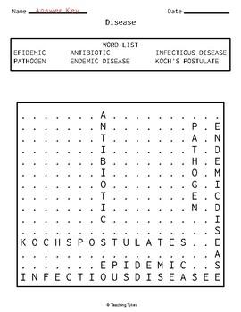 Disease Word Search Biology