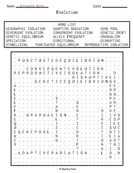 Evolution Biology Word Search