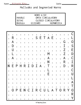 Mollusks and Segmented Worms Word Search