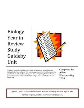 Biology Year-in-Review Study Guide by Unit