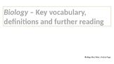Biology  key words, definitions and revision resource