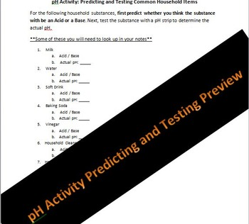 Biology or Physical Science pH Predicting and Testing Lab Activity