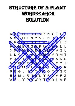 Biology word search Puzzle: Plant Structure (Includes answer key)