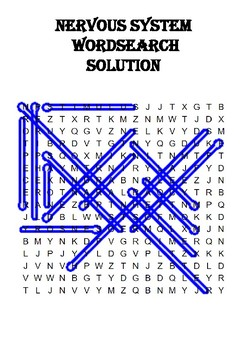 Biology word search Puzzle: The nervous system (Includes solution)