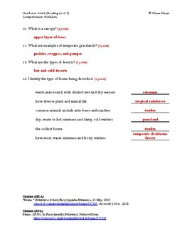 Biome Article (Readiing Level 2) Comprehension Worksheet