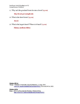 Biome Article (Readng Level 1) Comprehension Worksheet