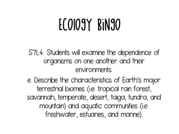Biome Bingo