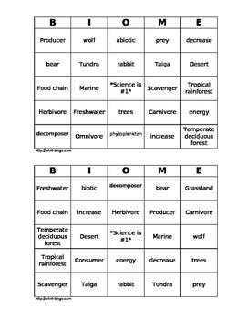 Biome Bingo Cards