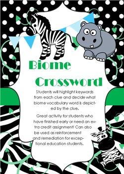 Biome Crossword Challenge w/ Key!