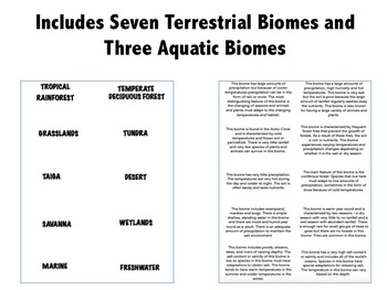 Biome Matching Activity