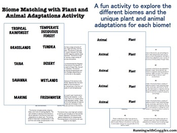 Biome Matching with Plant and Animal Adaptations