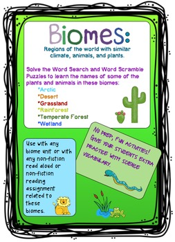 Biome Plants and Animals Vocabulary Puzzles