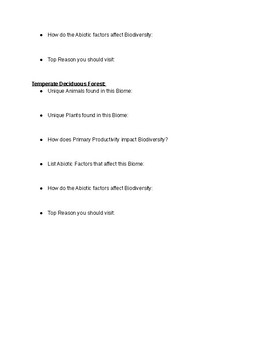 Biome Project Peer Review/Note Sheet