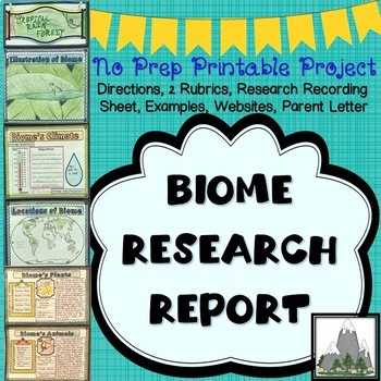 Biome Research Poster and Expository Writing Project  No Prep Printable Project