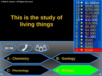 Biome Review Game (Who wants to be a Millionaire)
