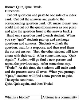 Biome Review Quiz, Quiz, Trade