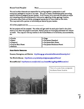 Biome Travel Brochure or Pamphlet Project