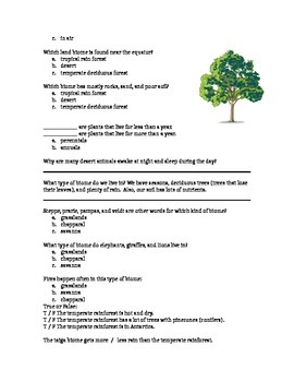 Biome Video Activity Sheet for ESL or Science Students