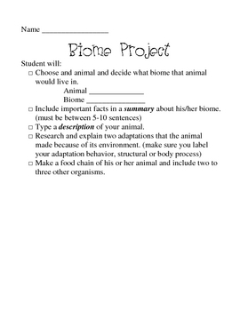 Biome and Adaptation Project