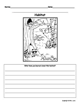 Biome and Habitat Writing Prompt Worksheets