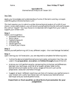 Biomechanics Analysis Task Sheet