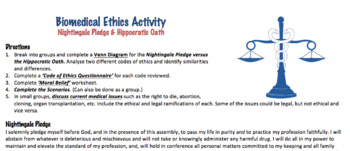 Biomedical Ethics Activity (Editable)