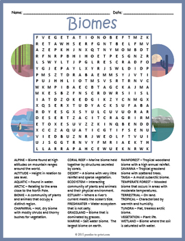 Biomes Word Search Puzzle