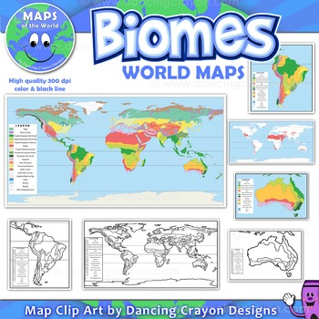 Biomes - Maps of the World and Continents Clipart
