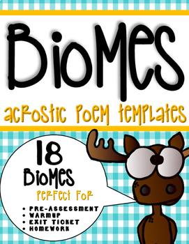 Biomes Activity: Acrostic Poem Templates