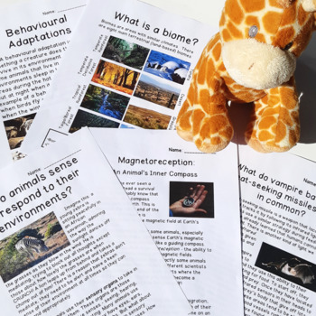 Biomes & Adaptations Unit: Texts, Research Prompts, Cross-curricular Projects