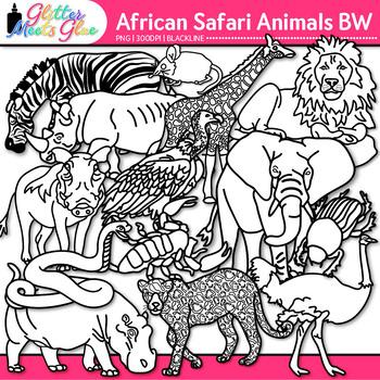 African Safari Animal Clip Art {Teach Groups, Habitats, & Classification} B&W