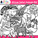 African Safari Animal Clip Art: Animal Group Graphics B&W {Glitter Meets Glue}