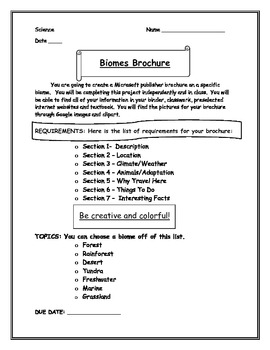 Biomes Brochure Project Description PLUS Rubric!